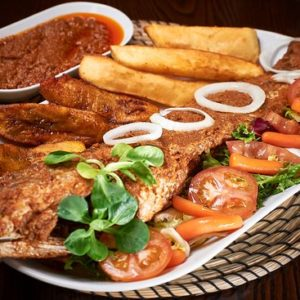 grilled fish and plantain